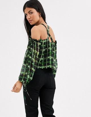 Lost Ink cold shoulder top in neon grid print