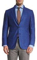Kiton Tonal Houndstooth Three-Button Sport Coat, Blue