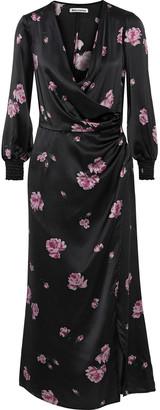 Reformation Chantelle Wrap-effect Floral-print Silk-satin Midi Dress