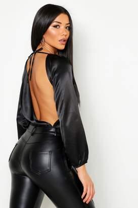boohoo Satin Cowl Back Bodysuit