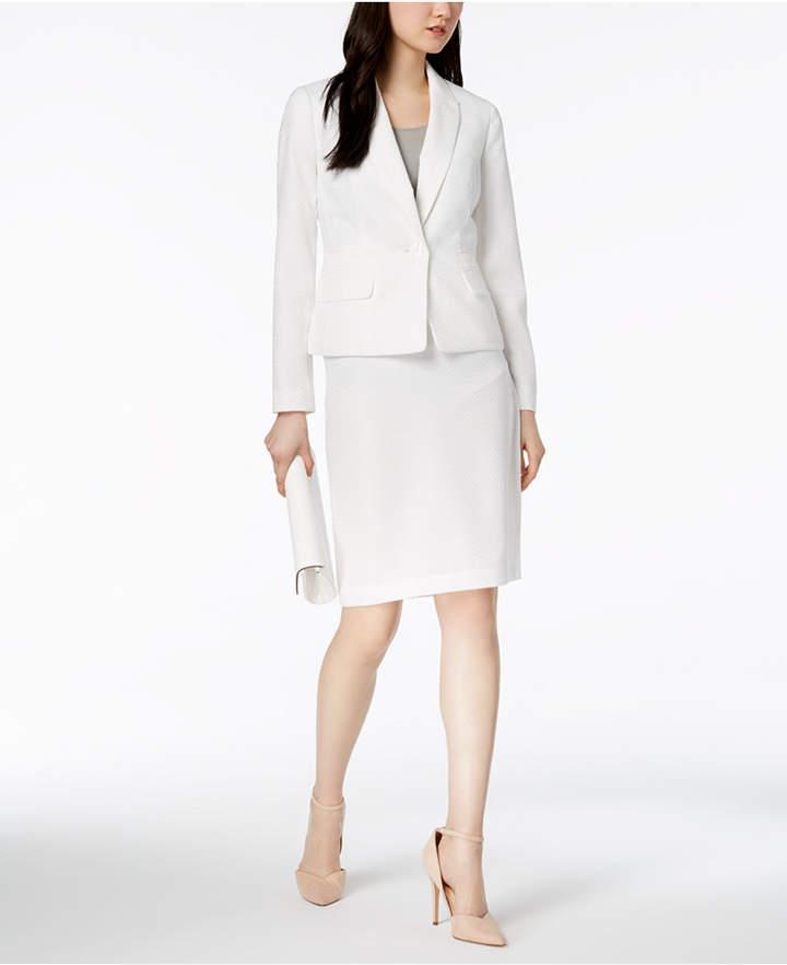 Le Suit Herringbone One-Button Skirt Suit