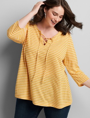 Lane Bryant Lace-Up Neck Swing Tee