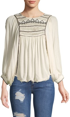 Free People Cyprus Avenue Embroidered Top