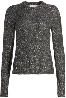 Frame Puff-Sleeve Sequin Sweater