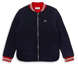 Lacoste Girls' Cotton Quilted Bomber Sweatshirt - Little Kid, Big Kid