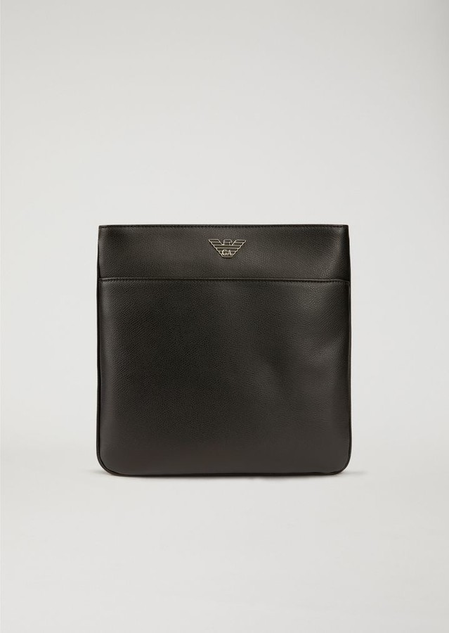Emporio Armani Printed And Boarded Leather Flat Messenger Bag