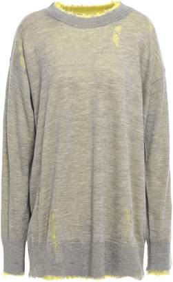 R 13 Reversible Distressed Melange Cashmere Sweater