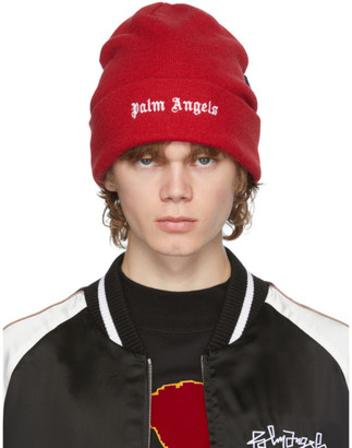 Palm Angels Red Wool Logo Beanie