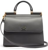 Dolce & Gabbana Sicily 58 Large Leather Bag - Womens - Dark Grey