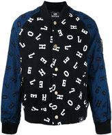 House of Holland embroidered letter bomber jacket - men - Cotton/Polyester/Spandex/Elastane - S