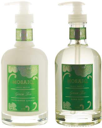 Mosaiq Green Tea 2Pc Hand Soap & Lotion Glass Bottle Set