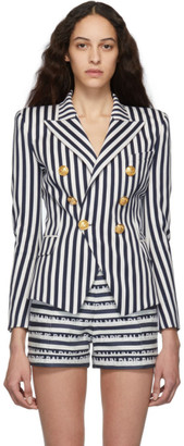 Balmain Blue and White Striped Double-Breasted Blazer