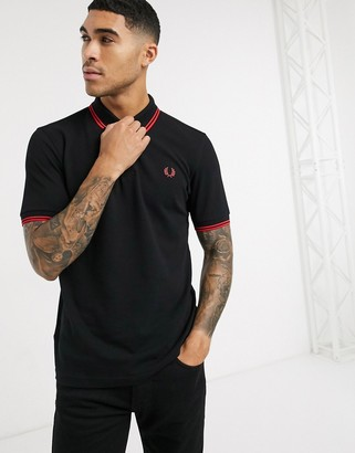 Fred Perry twin tipped logo polo in black/red
