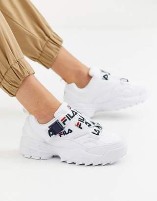 Fila Fast Charge trainer with logo straps in white