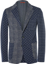 Barena - Blue Slim-fit Patchwork-jacquard Cotton-blend Blazer