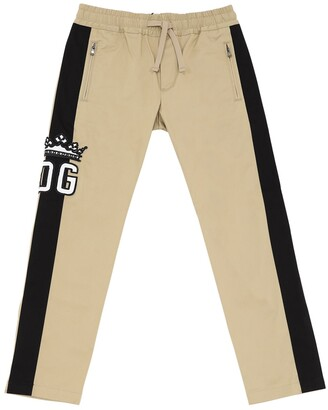 Dolce & Gabbana Stretch Cotton Gabardine Pants W/ Bands
