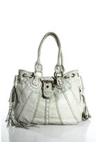 Isabella Fiore Ivory Leather Gold Hardware Stud Tassel Detail Shoulder Handbag