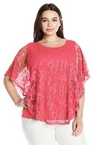 Notations Women's Plus Size Lace Ponco with Solid Under Piece