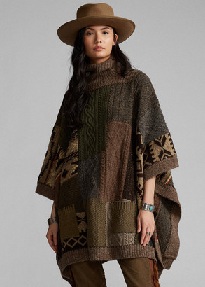 Ralph Lauren Patchwork Wool-Blend Turtleneck Poncho