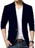 WEI QIU Men's Soft Velvet Long Sleeve Slim Fit One Button Blazer Jacket Dinner Party