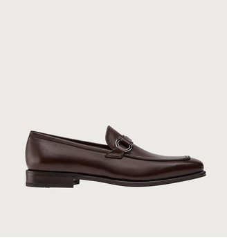 Salvatore Ferragamo Men's Rolly Leather Loafers w/ Gancio Ornament