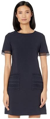 Maggy London Shift Dress with Lace Trim Pockets (Dark Navy) Women's Dress