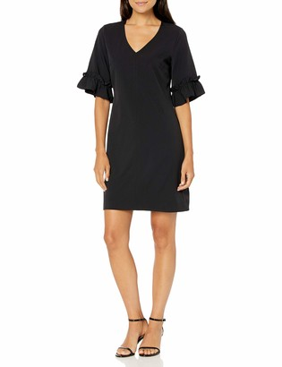 Lark & Ro Women's Florence Ruffle Half Sleeve V-Neck Sheath Dress