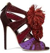 Brian Atwood Vivyan Embellished Leather-Trimmed Suede Sandals