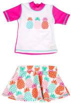 Banz Two-Piece Pineapple-Print Rash Guard and Swim Skirt Set