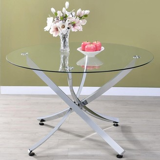 A Line Furniture Modern Chrome Artistic Design Round Dining Table with Tempered Glass Top