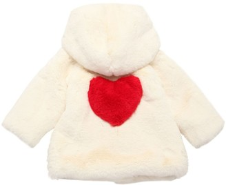 MonnaLisa HEART PRINT FAUX FUR COAT