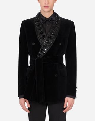 Dolce & Gabbana Belted Velvet Tuxedo Jacket With Embroidery