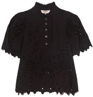 Sea Fern Eyelet Short Sleeve Top in Black