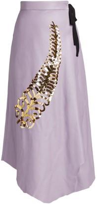 Prada Sequin Feather Leather Midi Skirt