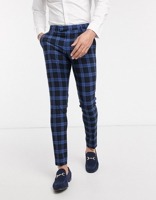 Asos DESIGN wedding super skinny suit pants blue highlight plaid