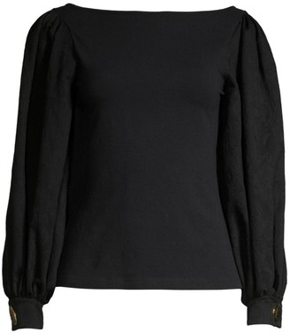 Mother of Pearl Winifred Jacquard-Sleeve Top