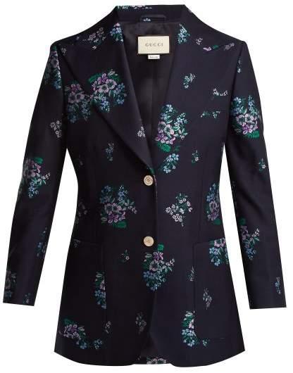 Gucci Floral Jacquard Jacket - Womens - Dark Blue