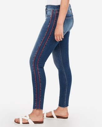Express Mid Rise Denim Perfect Side Stripe Raw Ankle Leggings