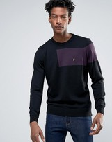 Farah Slim Panel Merino Knit Sweater in Black