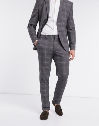 Selected suit pants slim-fit gray check