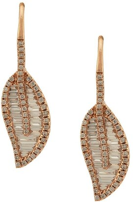 Anita Ko 18kt rose gold Leaf diamond earrings
