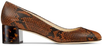 Jimmy Choo JESSIE 40 Cuoio snake printed leather pumps with tortoiseshell heel