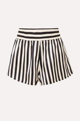 Amanda Fatherazi Morgan Lane Corey Appliquéd Striped Silk-charmeuse Pajama Shorts - Black