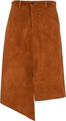 Maison Margiela Asymmetric Suede Midi Skirt