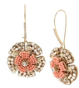 Miriam Haskell New York Woven Flower Long Drop Earrings