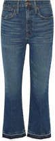Madewell Cropped Frayed Mid-rise Flared Jeans - Dark denim