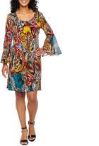 3/4 Sheer Bell Sleeve Paisley Shift Dress-Petite