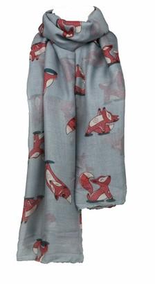 Number1gifts Women's Animal Fox Print Animal Pattern Casual Ladies Scarf Shawl (Grey)