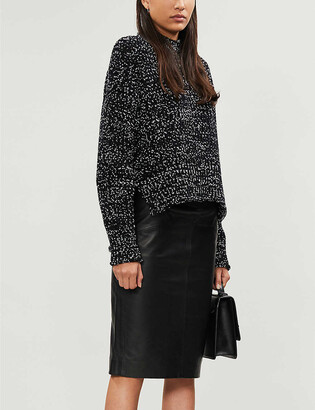 Whistles Kel leather midi pencil skirt