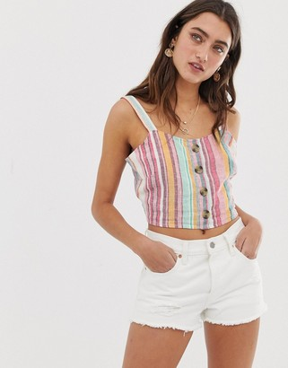 Only linen stripe crop-Cream